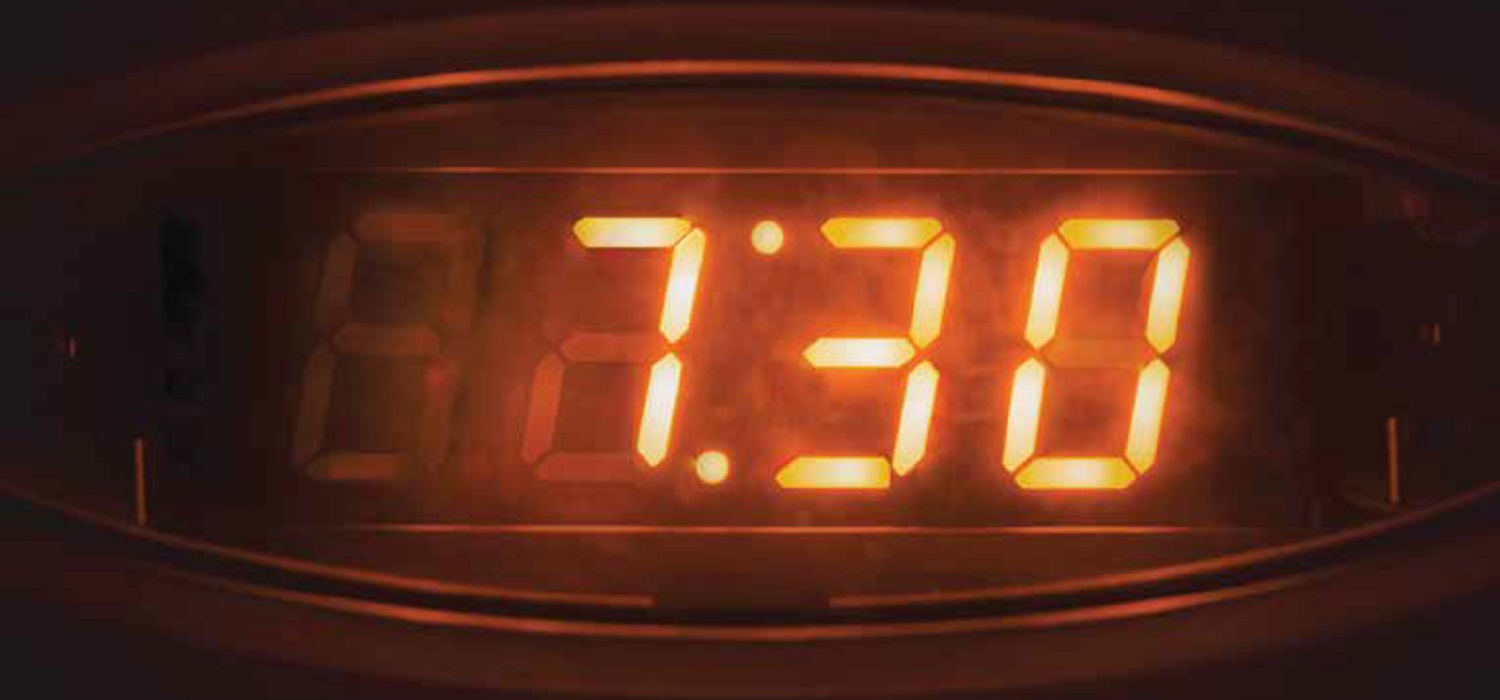 Image of a clock reading 7:30