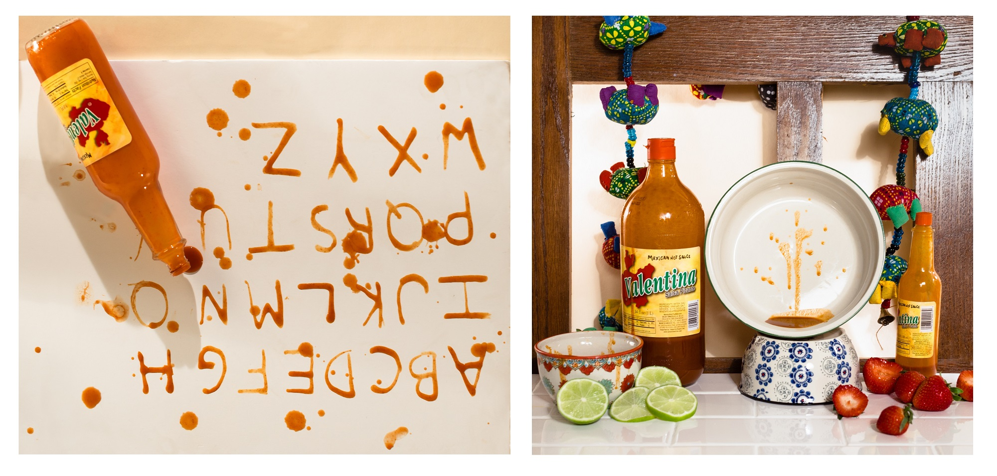 First photo is of the alphabet written with hot sauce, and second shows hot sauce with various bowls