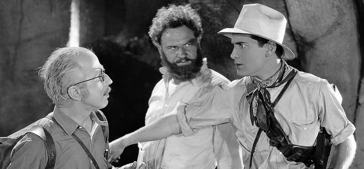 Photograph from the film, the lost world, of three men arguing
