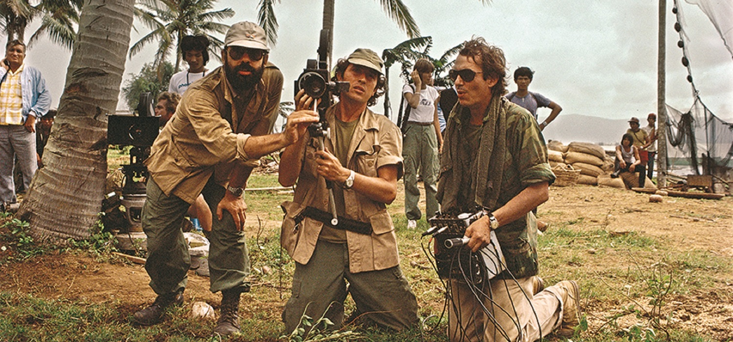 Vittorio Storaro (center) with director Francis Ford Coppola (left) and production designer Dean Tavoularis during filming of Apocalypse Now (1979)
