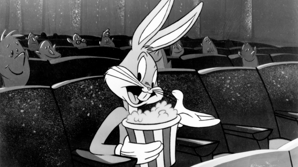 Bugs Bunny sitting in a movie theater
