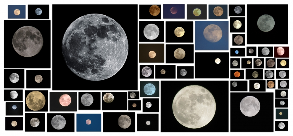 Photographs of Moons collected by Penelope Umbrico