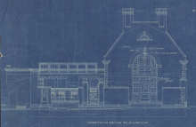 Detail of blueprint of George Eastman's carriage house and greenhouses