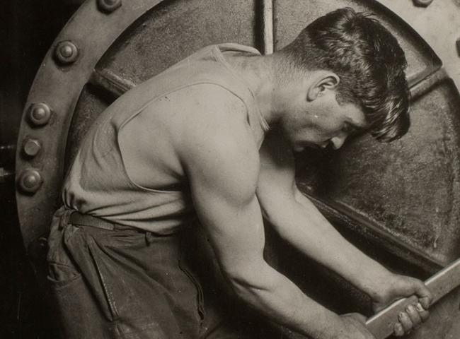 Lewis Hine photograph of man working